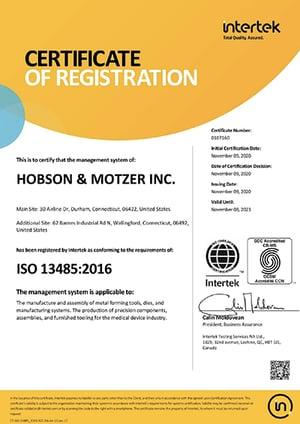 Hobson_Motzer ISO 13485 Certification